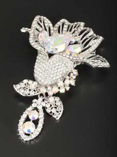 Blacksmith Made Platinum Plated Zircon Flower Lapel Pins & Brooche
