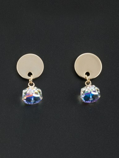 Round style with Gold Plated Swarovski Crystals Drop drop Earring