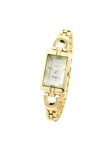 Fashion Yellow Gold Alloy Japanese Quartz Square Alloy Women's Watch 24-27.5mm