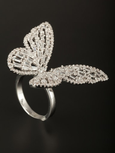 Custom White Butterfly Ring with Platinum Plated Copper