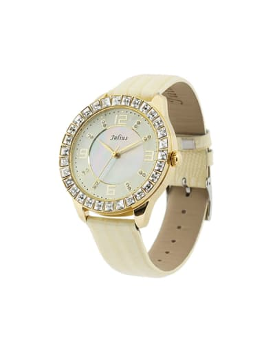 Fashion Beige Alloy Japanese Quartz Round Genuine Leather Women's Watch 40-43.5mm