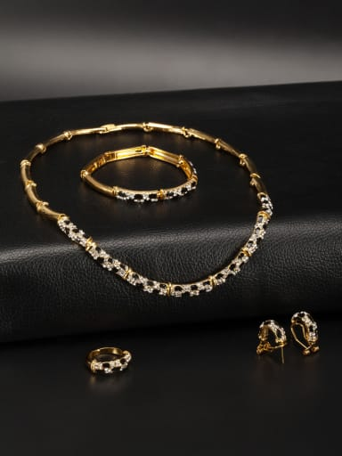Personalized Gold Plated Zinc Alloy Multi-Color Rhinestone 4 Pieces Set