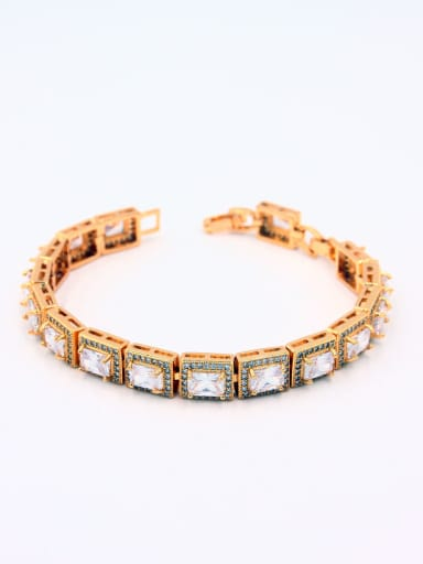 The new Gold Plated Copper Zircon Square bangle with White