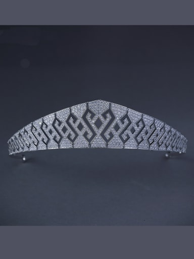 The new Platinum Plated Zircon Geometric Wedding Crown with White