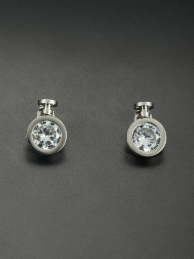 New design Stainless steel Round Rhinestone Studs stud Earring in White color