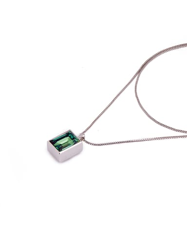 New design Platinum Plated Zinc Alloy Geometric Swarovski Crystals necklace in Green color