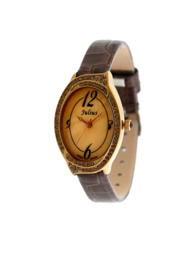 Fashion Brown Alloy Japanese Quartz Oval Genuine Leather Women's Watch 24-27.5mm