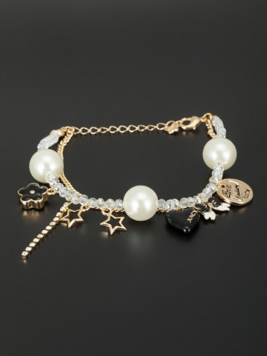 The new Gold Plated Beads Butterfly Bracelet with White