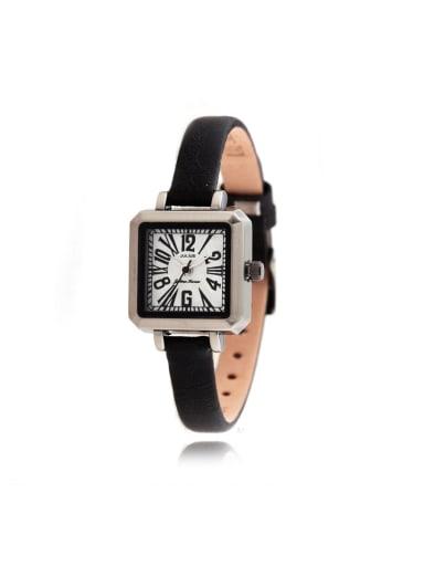Model No 1000003329 Fashion Black Alloy Japanese Quartz Square Genuine Leather Women's Watch 24-27.5mm