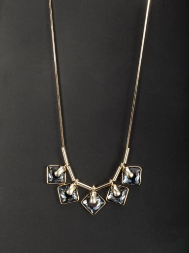 Gold Plated Square Crystal Necklace