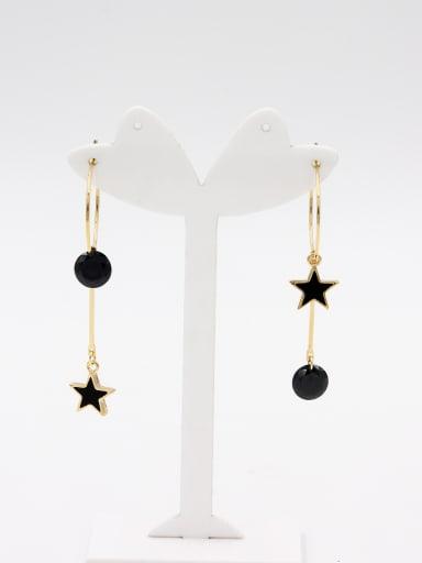 Gold Plated Star Black Zircon Beautiful Hoop hoop Earring