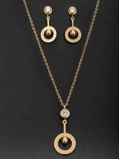 Model No A000226A Personalized Stainless steel Gold Round Rhinestone 2 Pieces Set
