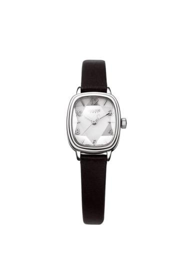 Model No A000483W-002 Fashion Black Alloy Japanese Quartz Square Genuine Leather Women's Watch 24-27.5mm