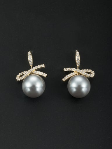 Gold Plated Round Grey Pearl Beautiful Drop drop Earring