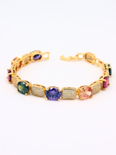 Mother's Initial Multi-Color Bracelet with Zircon