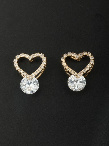 The new Gold Plated Diamond Heart Studs stud Earring with White