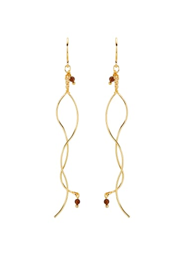 Gold Drop threader Earring with Gold Plated Copper Garnet