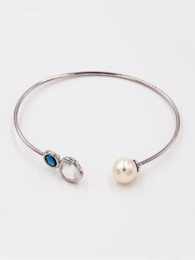White color Platinum Plated Heart Aquamarine Bangle