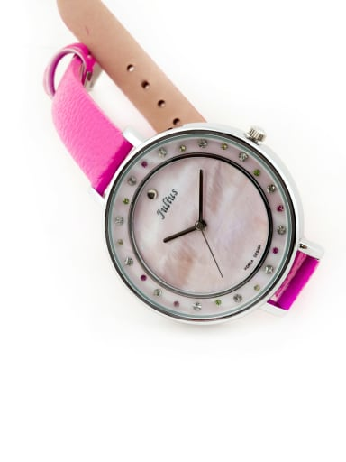 Fashion Pink Alloy Japanese Quartz Round Genuine Leather Women's Watch 24-27.5mm