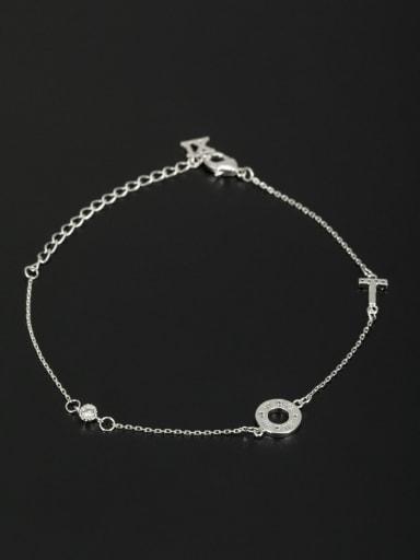 New design Platinum Plated Cross Zircon Bracelet in White color