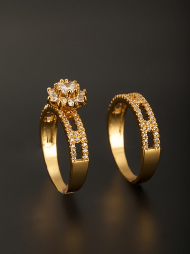 Model No SJ036062R The new Gold Plated Copper Zircon Ring with White  Combination of the ring