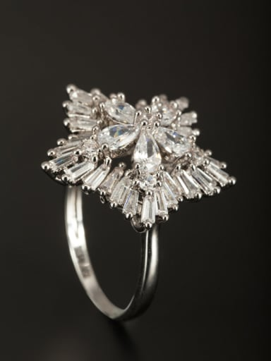 White color Platinum Plated Copper Star Zircon Ring