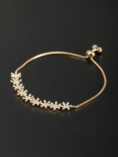Personalized Rose Plated White Flower Zircon Bracelet