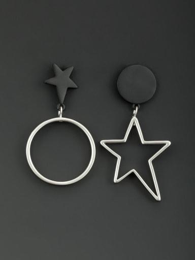 Custom Black Star Drop drop Earring with Platinum Plated