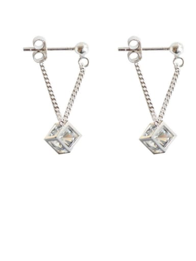 Mother's Initial Silver Drop drop Earring with Geometric Rhinestone