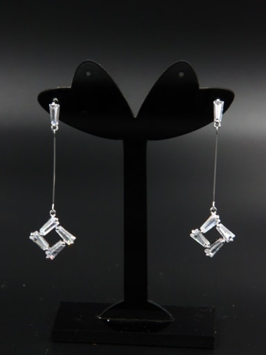 Model No LYE-181862B The new Platinum Plated Zircon Studs drop Earring with White