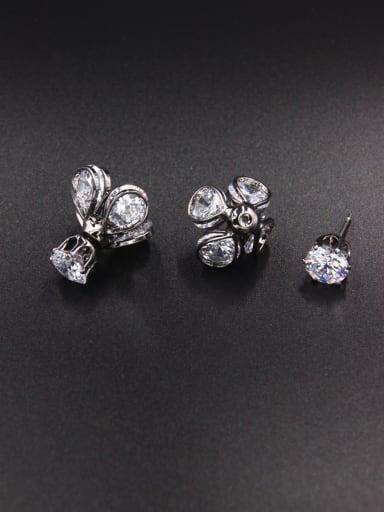 Flower style with Copper Zircon Studs stud Earring