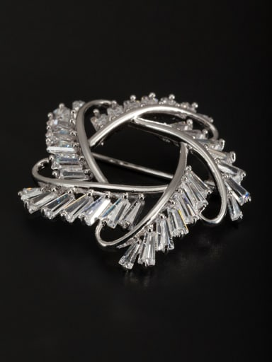 White Youself ! Platinum Plated Zircon Lapel Pins & Brooche