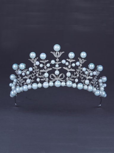 Platinum Plated Navy Pearl Beautiful Wedding Crown