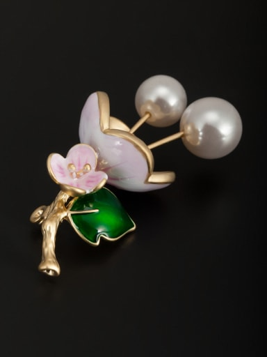 Blacksmith Made Gold Plated Pearl Flower Lapel Pins & Brooche
