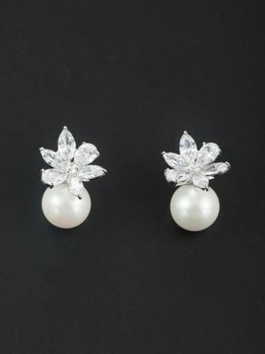 Model No LYE166762B Fashion Platinum Plated Flower Drop drop Earring