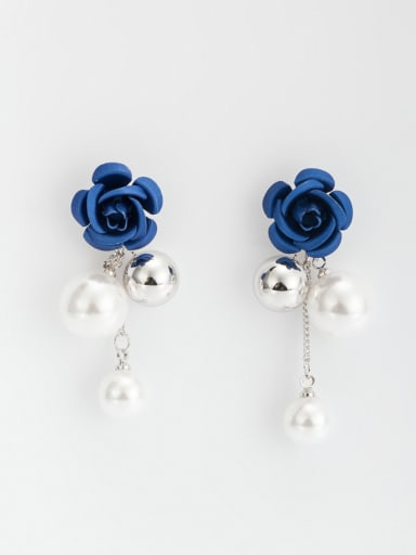 Multicolor Flower Drop drop Earring with Platinum Plated Copper