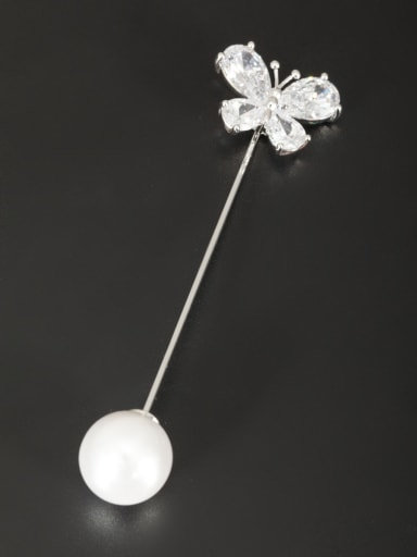 The new Platinum Plated Pearl Butterfly Lapel Pins & Brooche with White