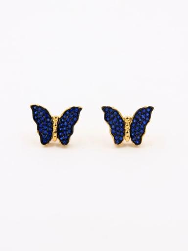 Butterfly Gold Plated Copper Zircon Navy Studs stud Earring