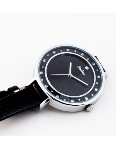 Model No 1000003322 Fashion Black Alloy Japanese Quartz Round Genuine Leather Women's Watch 24-27.5mm