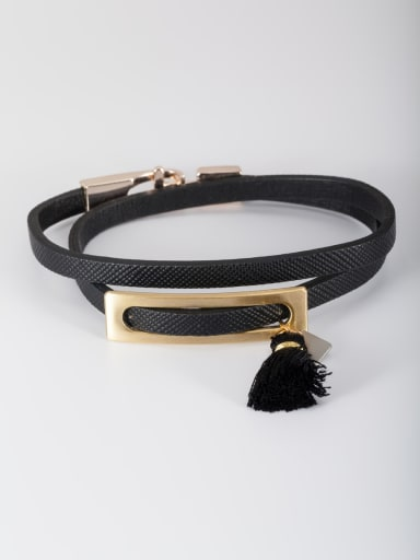 The new Gold Plated PU Square Bangle with Black