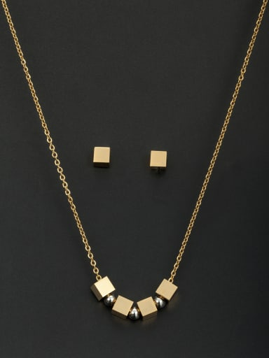 Round Stainless steel Beads Gold 2 Pieces Set