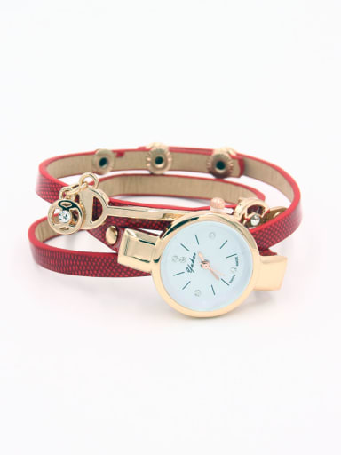 23-25mm size Alloy Round style Faux Leather Women's Watch