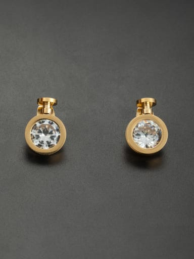 Stainless steel Round Rhinestone Gold Studs stud Earring