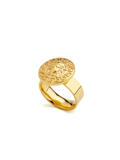 Mother's Initial Gold Signet Ring with