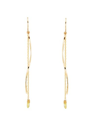 Gold Plated Copper Fringe Stone Drop threader Earring