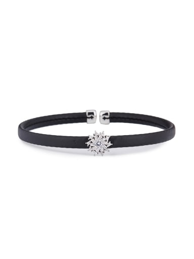The new Platinum Plated Mixed Metal Rhinestone Personalized Choker with Black