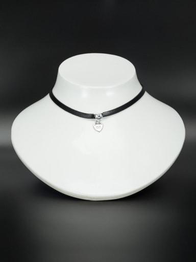 Custom White Heart Choker with Platinum Plated