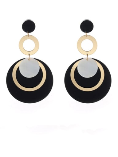 Gold Plated Zinc Alloy Round Acrylic Drop drop Earring