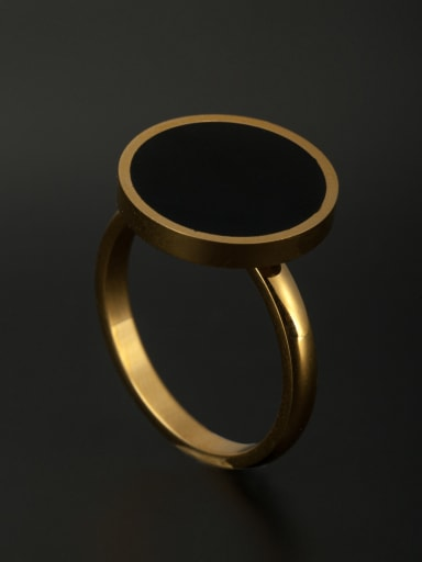 Round Stainless steel Gold Ring 6-9#