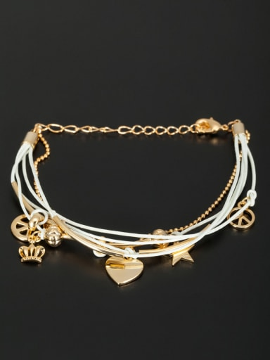 Mother's Initial White Bracelet with Heart